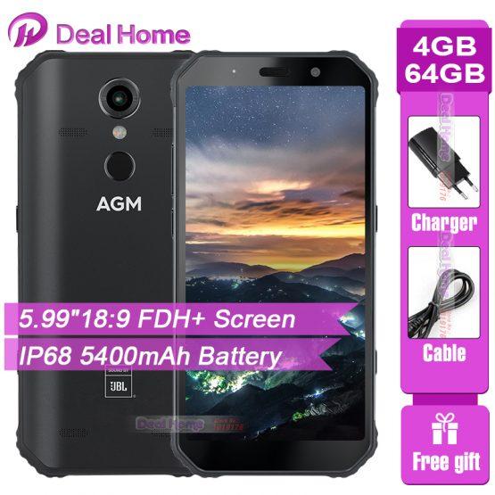 "AGM A9 IP68 JBL Co-Branding 5.99"" Screen 4GB RAM 64GB ROM JBL Tuned Speakers Smartphone Android 8.1 5400mAh NFC OTG Mobile Phone"
