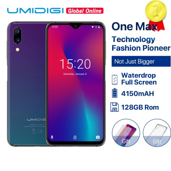 "Refurbished UMIDIGI One Max Global Vertion 128GB 6.3"" Waterdrop Full-Screen Smartphone 4150mAh NFC Wireless Charge Android 8.1"