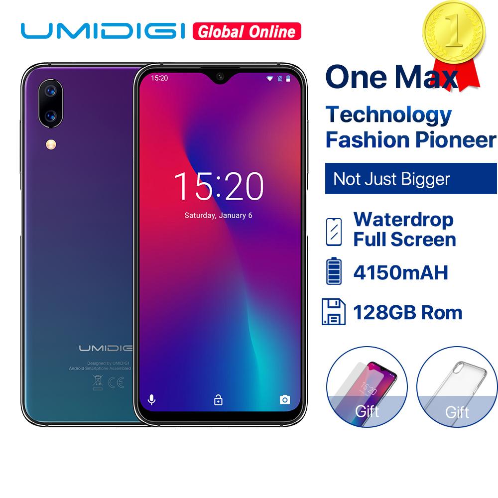 "Refurbished UMIDIGI One Max Global Vertion 128GB 6.3"" Waterdrop Full-Screen Smartphone 4150mAh NFC Wireless Charge Android 8.1"