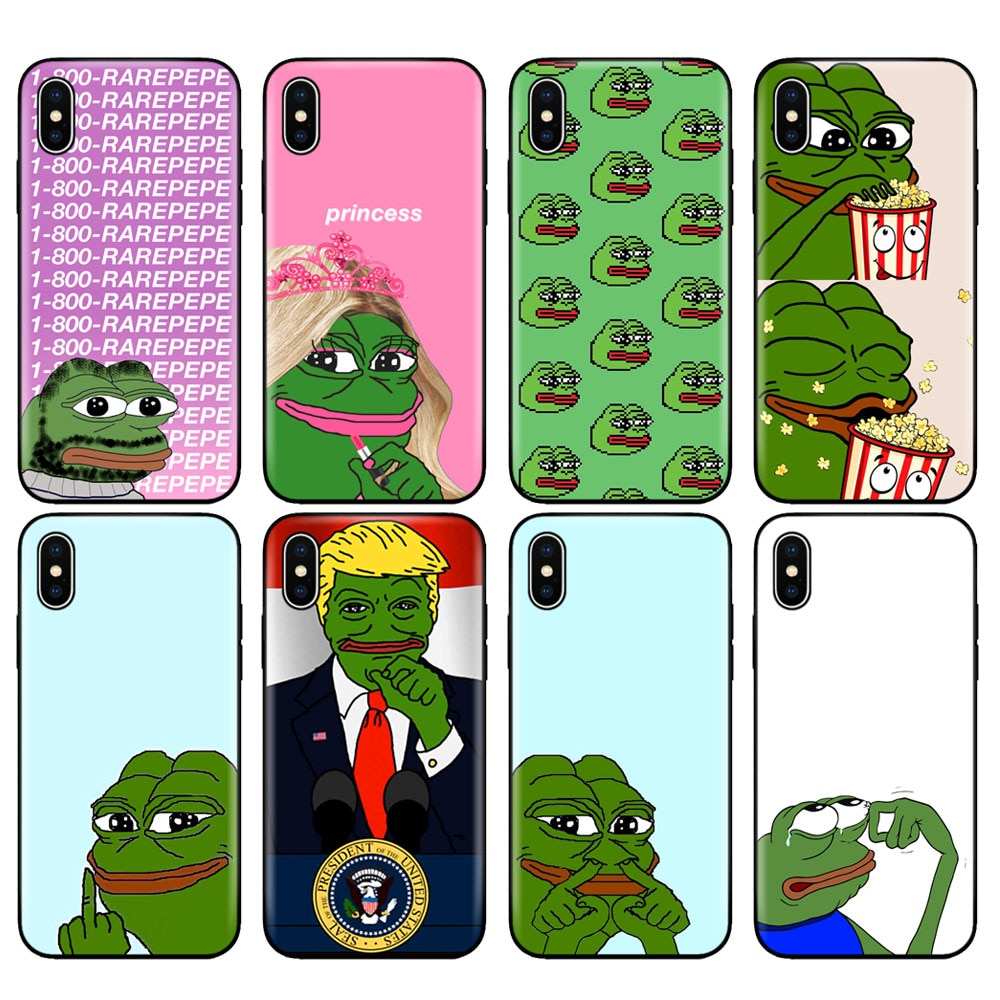 Black tpu case for iphone 5 5s se 6 6s 7 8 plus x 10 case cover for iphone XR XS 11 pro MAX case Internet Meme Smug Frog Pepe