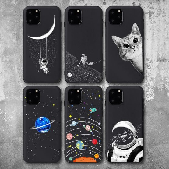 Pretty Space Moon Astronaut Phone Cases For iphone 7 8 X Case For iphone 6 7plus XR XS 11Pro Max Planet Star Frosted Soft Cover