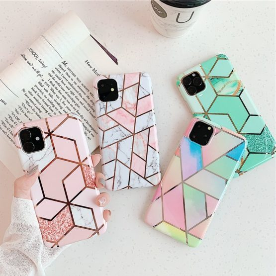 Lovebay Geometric Marble Texture Phone Cases For iPhone 11 X XR XS Max Lovebay Geometric Marble Texture Phone Cases For iPhone 11 X XR XS Max 11 Pro Max Soft IMD Cases Cover For iPhone 6 6S 7 8 Plus.