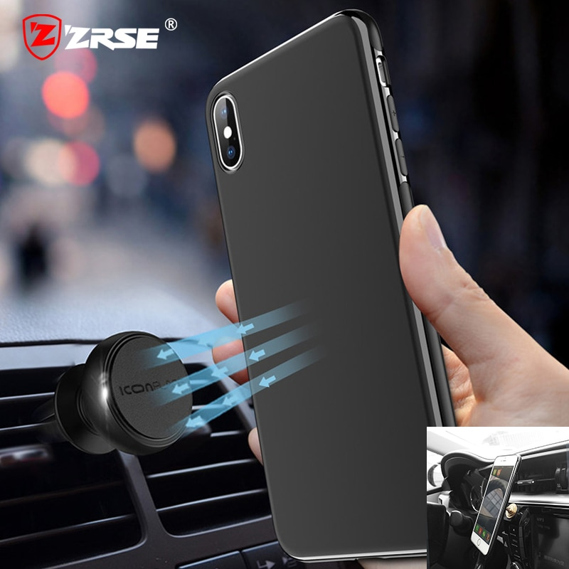 ZRSE Magnetic Car Phone Case for iPhone 6 6S 7 8 Plus X XR XS 11 Pro Max Invisible Magnet Plate Soft TPU Shockproof Phone Cover