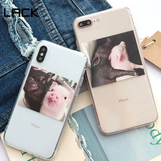 LACK Cute Pig Phone illustratin Case For iphone 11 11Pro Max XR X XS Max 6 6S 7 8 Plus Couples Clear Soft TPU Coque Back Cover