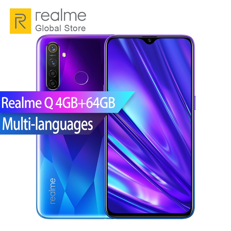 "Realme Q 4GB RAM 64GB ROM Snapdragon 712 AIE Octa Core 6.4"" Mobille Phone 48MP Quad Camera Smartphone VOOC 20W Fast Charger"