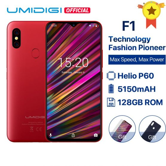 """UMIDIGI F1 Android 9.0 6.3"""" FHD+ 128GB ROM 4GB RAM Helio P60 5150mAh Big Battery 18W Fast Charge Smartphone 16MP+8MP In stock"""