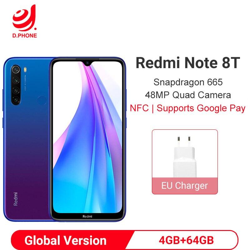 "Global Version Xiaomi Redmi Note 8T 8 T 4GB 64GB NFC Smartphone Snapdragon 665 Octa Core 48MP Quad Rear Camera 6.3"" 4000mAh"