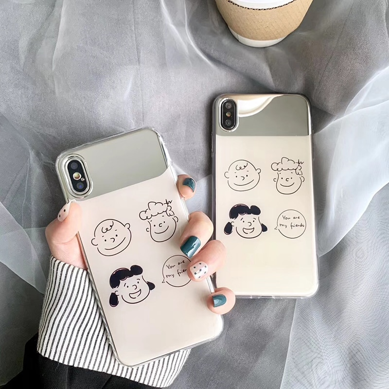 Makeup mirror Phone Cases For iPhone 11 8 7 Plus Case Soft cartoon Charlie Lucy cover For iPhone X XS 11Pro Max XR fundas