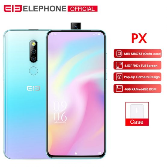 "Elephone PX 6.53"" FHD+Full Screen Pop-Up 16MP+2MP Camera 3300mAh Elephone PX 6.53"" FHD+Full Screen Pop-Up 16MP+2MP Camera 3300mAh Mobile Phone Android 9.0 MT6763 Octa Core 4GB+64GB Smartphone."