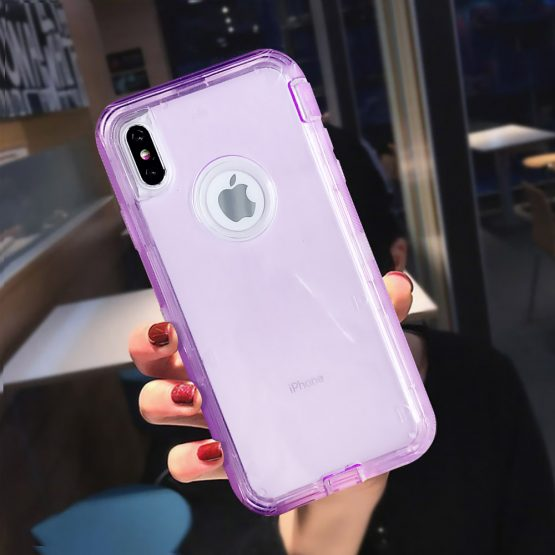 Heavy Duty Armor Clear Phone Case For iPhone XR XS Max X 6 6s 7 8 Plus Heavy Duty Armor Clear Phone Case For iPhone XR XS Max X 6 6s 7 8 Plus PC+TPU 3 in 1 360 Shockproof Transparent Protective Cover.