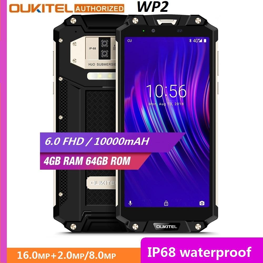 "OUKITEL WP2 IP68 Waterproof Dust Shock Proof Mobile Phone 4GB 64GB MT6750T Octa Core 6.0"" 18:9 10000mAh Fingerprint Smartphone"