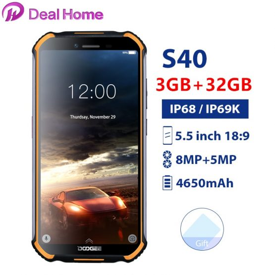 "Doogee S40 5.5""Screen Waterproof 3GB RAM 32GB ROM Smartphone MTK6739 Quad Core Android 9.0 4650mAh 8.0MP NFC 4G LTE Mobile Phone"