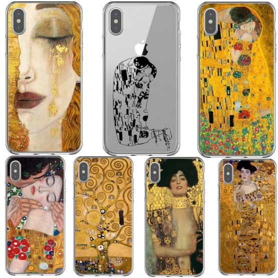 Kiss by Gustav Klimt Design soft silicone Phone Cases Cover For iPhone 5S SE 6 6S 7 8 Plus X XR XS MAX 11 Pro Max Cover Fundas