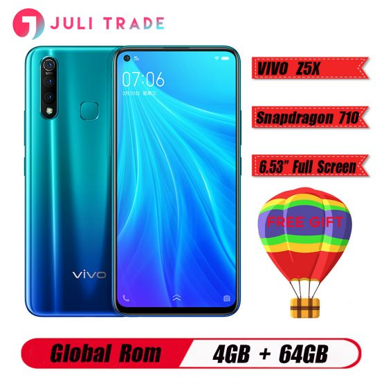 "Original Vivo Z5X 4G LTE Mobile Phone 6.53"" Screen Snapdragon 710 Octa Core 4G 64G Android 9 5000mAh Big Battery Smartphone"