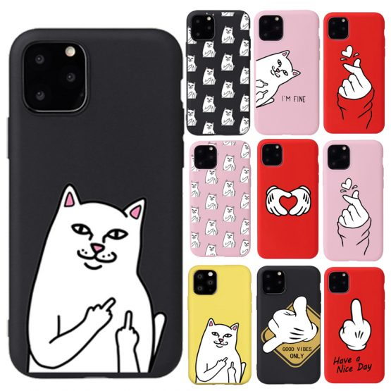 Funny Finger Pattern Phone Case For iPhone 11 Pro Max 6s 7 8 Plus Cartoon Cat Soft TPU Cases for iPhone X XR XS Max Back Cover