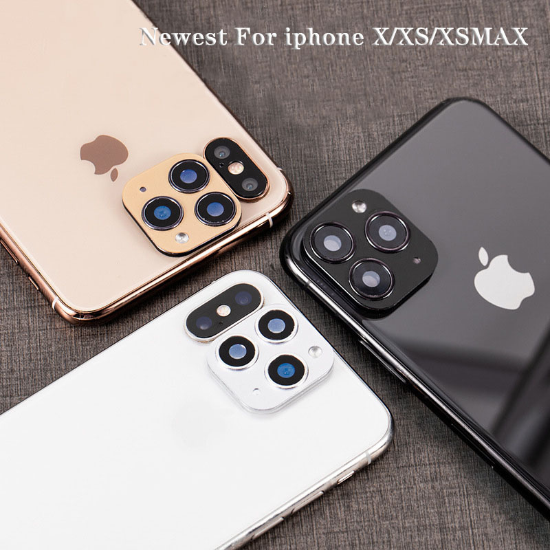For iPhone X XS XSmax Seconds Change 11 PRO MAX Newest Metal Aluminum Camera Lens Case Sticker Full Camera Protective Cover
