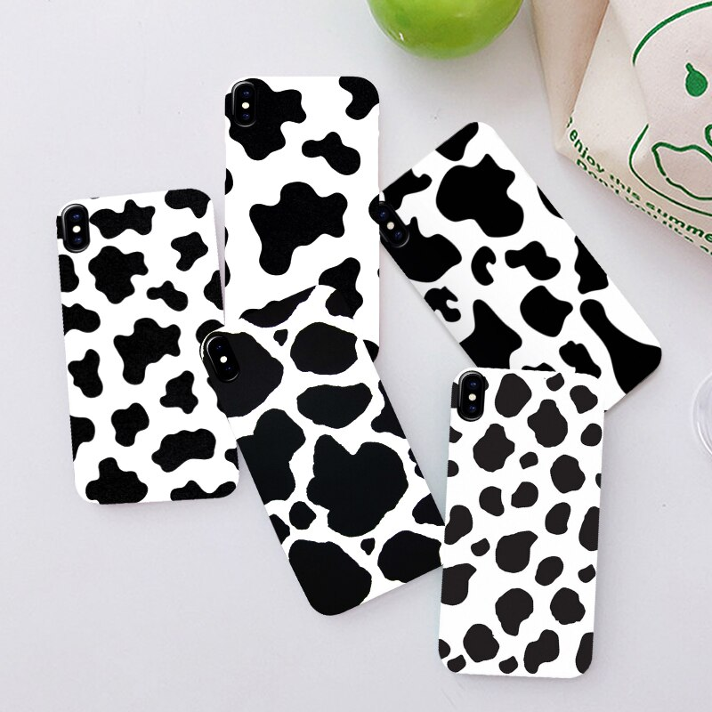 For IPhone 11 Pro 6 6S 7 8 Plus X XR XS Max 6 Cell Phone Case Cover White Black Cow Symbol Pattern Print Soft Silcone Coque