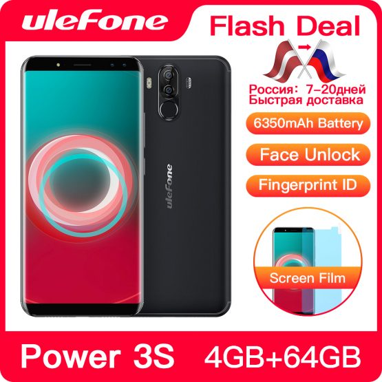"Ulefone Power 3S 6.0"" 18:9 FHD+ Mobile Phone MTK6763 Octa Core Android 8.1 4GB+64GB 16MP 4 Camera 6350mAh Face ID 4G Smartphone"