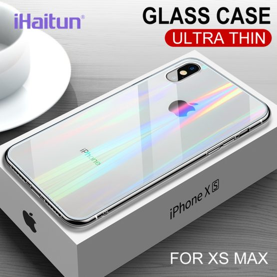 iHaitun Luxury Laser Glass Case For iPhone 11 Pro Max XS MAX XR X Cases iHaitun Luxury Laser Glass Case For iPhone 11 Pro Max XS MAX XR X Cases Transparent Back Glass Cover For iPhone 10 7 8 Plus Soft.