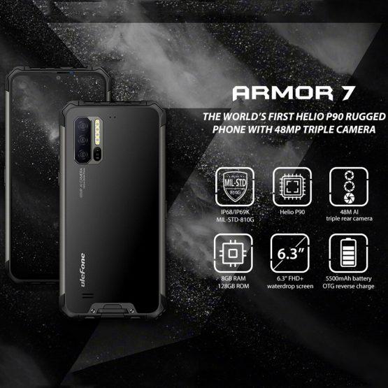 Ulefone Armor 7 IP68 Rugged Mobile Phone Helio P90 Octa Core 8GB+128GB Android Ulefone Armor 7 IP68 Rugged Mobile Phone Helio P90 Octa Core 8GB+128GB Android 9.0 48MP 4G LTE Camera Global Vision Smartphone.