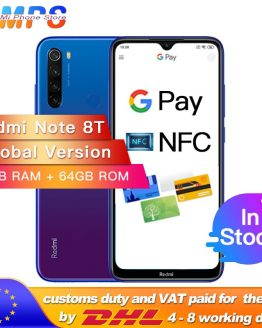 "Global Version Xiaomi Redmi Note 8T 4GB 64GB NFC Snapdragon 665 Octa Core Smartphone 6.3"" 48MP Quad Rear Camera 18W"