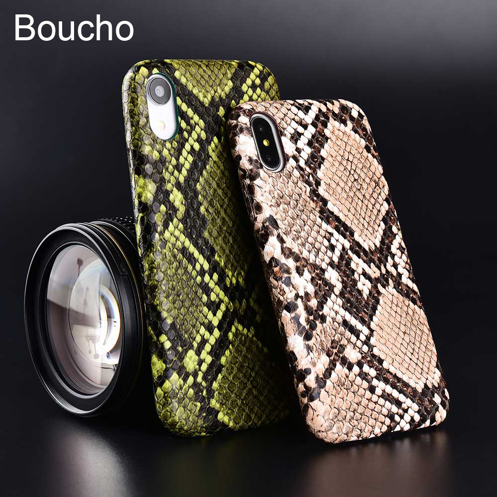 Boucho Soft Phone Cover for iPhone 6 6s 7 8 Plus X XS MAX XR Snake Skin PU Leather Ultra Slim Coque case for iphone 11 pro max 8plus 7plus apple 11 Shockproof Protective Case