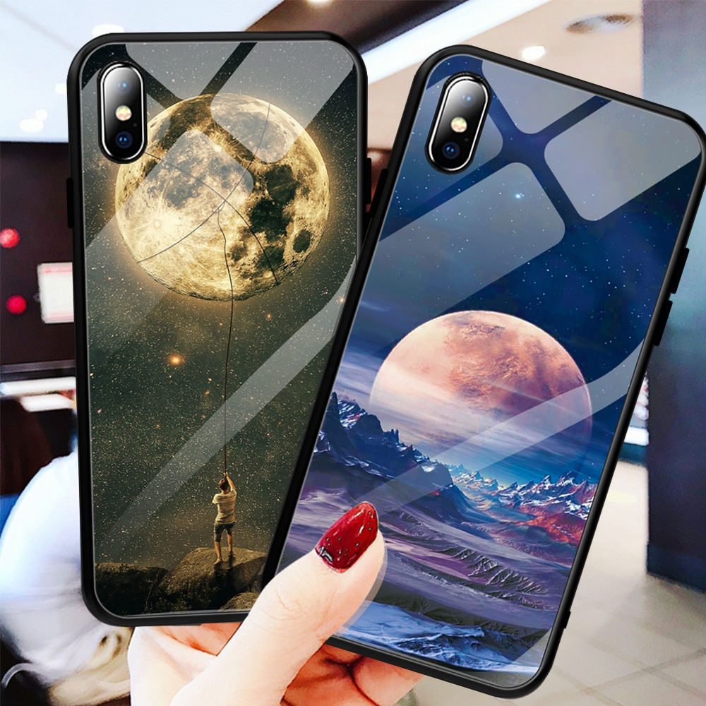 Glass Case For iPhone XS Max XR X 8 11 Pro Max Case Silicon Slim Tempered Glass Starry sky For iPhone 8 7 Plus 6 6s 8Plus 11 Pro