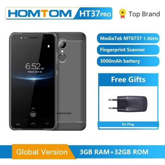 Original HOMTOM HT37 Pro Smartphone 4G MT6737 5.0 Inch HD Android 7.0 Cell Phon 3+32GB 13MP 3000mAh Fingerprint ID Mobile Phone