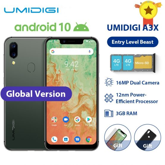 "UMIDIGI A3X Android 10 Global Band 3GB RAM 16GB MT6761 5.7"" Smartphone 16MP+5MP Rear 13MP Selfie Dual 4G Triple Slots 3300mAh"