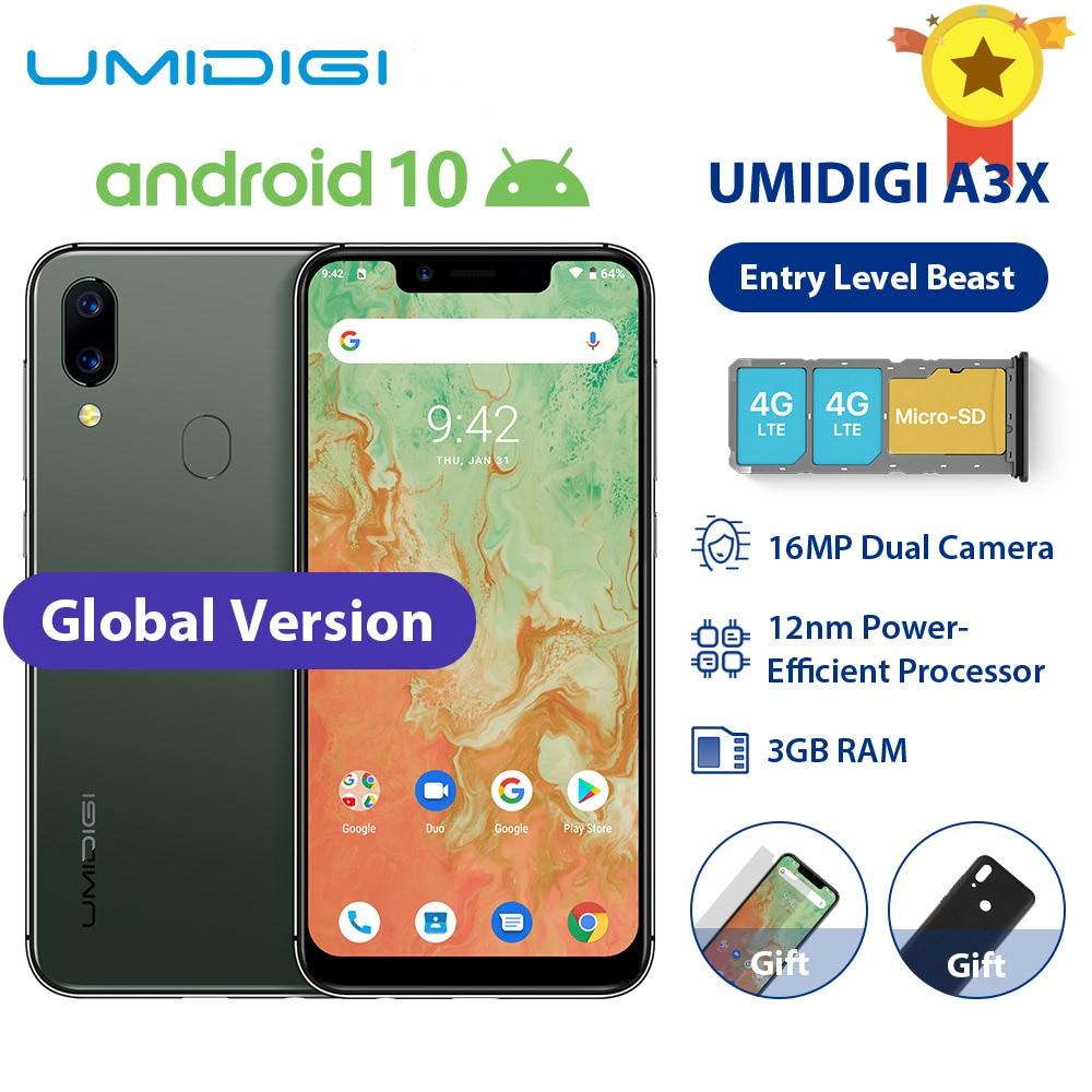 "UMIDIGI A3X Android 10 Global Band 3GB RAM 16GB MT6761 5.7"" Smartphone 16MP+5MP Rear 13MP Selfie Dual 4G Triple Slots 3300mAh"