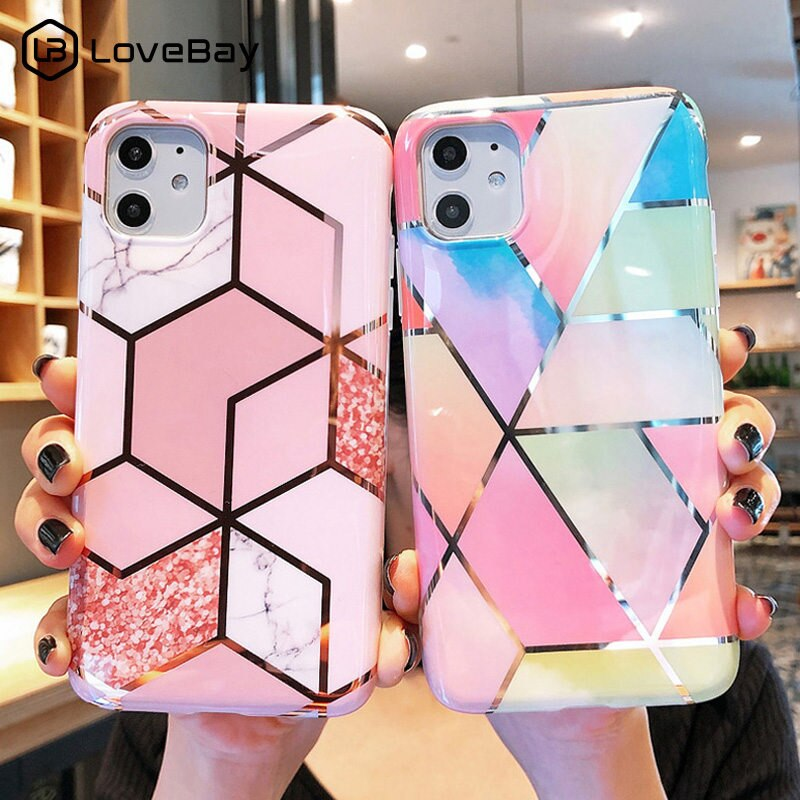 Lovebay Electroplated Marble Geometric Phone Case For iPhone 11 Pro X XR XS Max 7 8 6 6s Plus Soft IMD Silicone Back Cover Coque