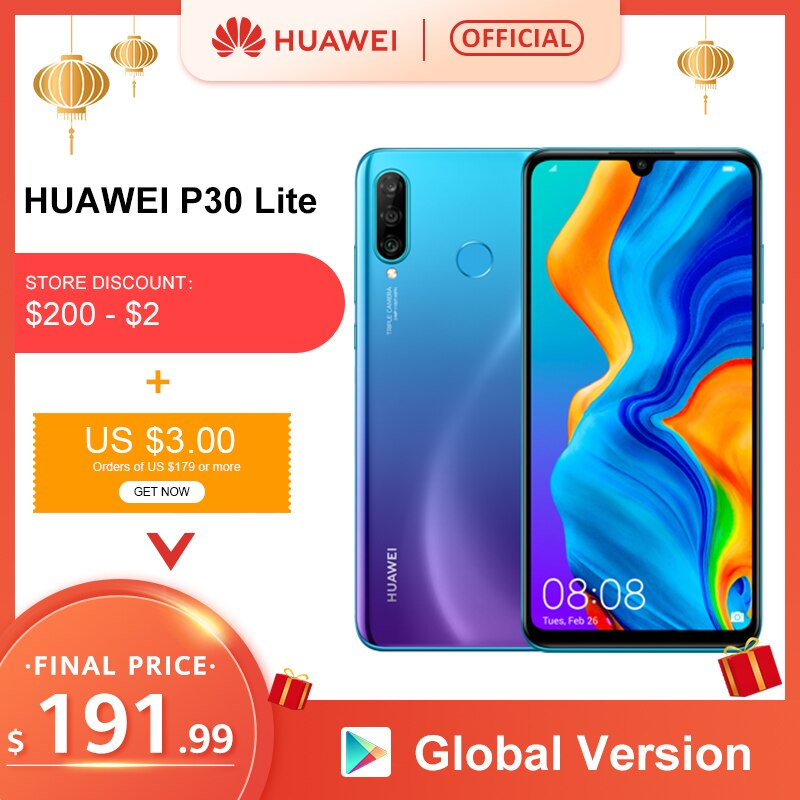 Global version Huawei P30 Lite 4GB 128GB 6.15 Smartphone Global Version inch Kirin 710 Mobile Phone Android 9.0 CellPhone