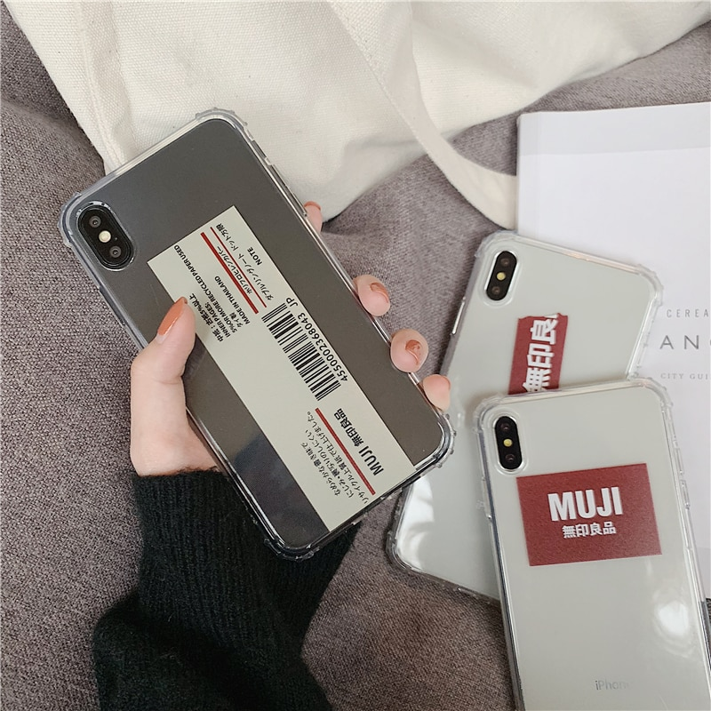 Japan personality Barcode MUJI phone case For iphone 11 pro XS MAX XR X 6 6s 7 8plus fashion simple label clear soft cover coque