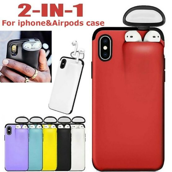 Mobile Phone Case for iPhone 11 Pro Case Protector with Earbuds Holder for Airpods Hard Case Cover for 6 6s 7 8 Plus XR XS Max