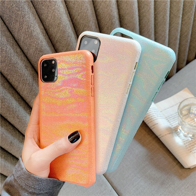 Luxury Shiny Laser PU Leather Case for iPhone 7 8 7Plus 8Plus Soft Phone Case for iPhone 11 Pro XR XS Max X Fashion Back Cover