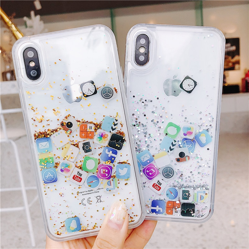 Quicksand Case Cute APP Icon Case Capa For iPhone 11 Pro MAX 8 7 6 6s X XS MAX Liquid Hard PC Phone Shell Transparent Back Cover