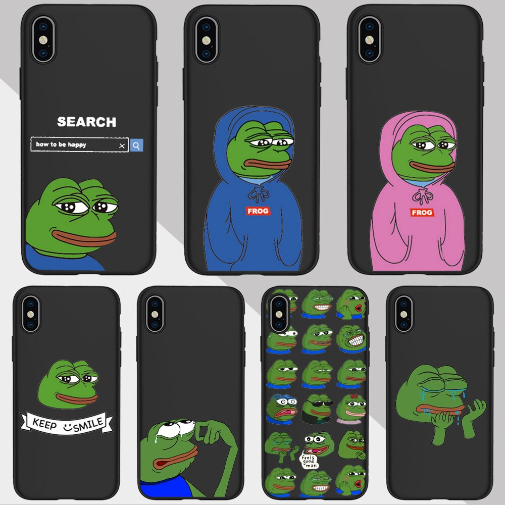 Funny The Frog Pepe face crying happy Couple Phone Case For iPhone 11 pro MAX XR XS MAX X 5S 6S 7 8 Plus Black Silicone TPU Case