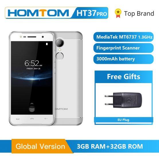 HOMTOM HT37 Pro Smartphone 4G Double Speaker MTK6737 5.0 Inch HD Android 7.0 3GB+32GB 13MP 3000mAh Fingerprint ID Mobile Phone