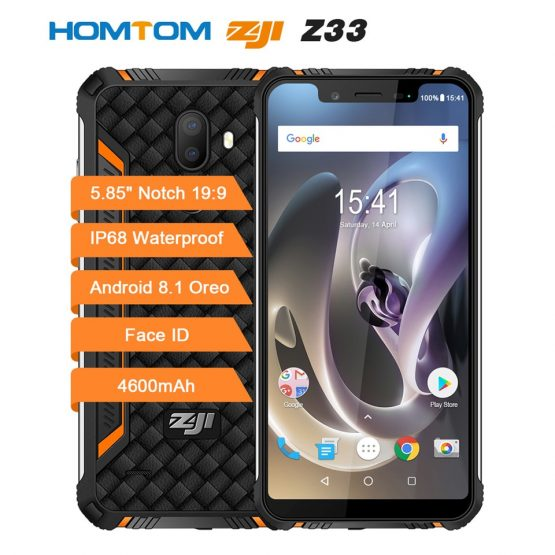 "HOMTOM ZOJI Z33 SmartPhone IP68 Waterproof MT6739 1.5GHZ 3GB 32GB 4600mAh 5.85"" Dual sim Android 8.1 OTA OTG Face ID Cellphones"