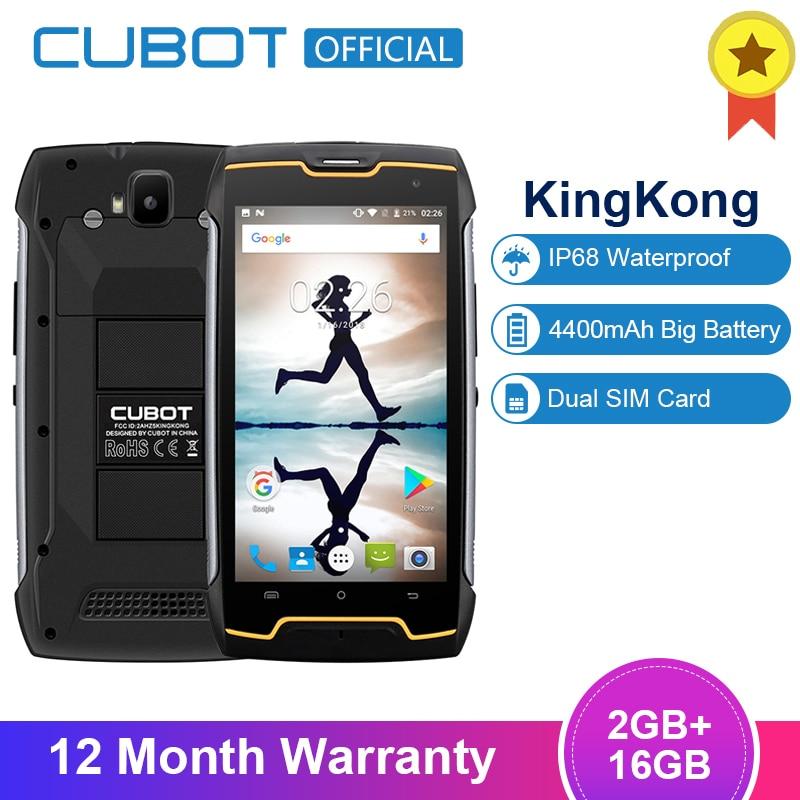 "Cubot KingKong IP68 Waterproof Dustproof Shockproof MT6580 Quad Core 4400mAh 5.0""Android 7.0 Cellular 2G RAM 16G ROM Smartphone"