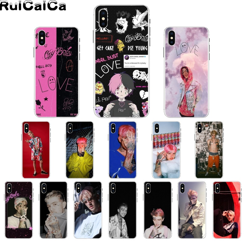 RuiCaiCa Hip Hop Rapper Lil Peep Pattern TPU Soft Phone Cell Phone Case for iPhone 8 7 6 6S Plus X XS MAX 5 5S SE XR 11 11pro