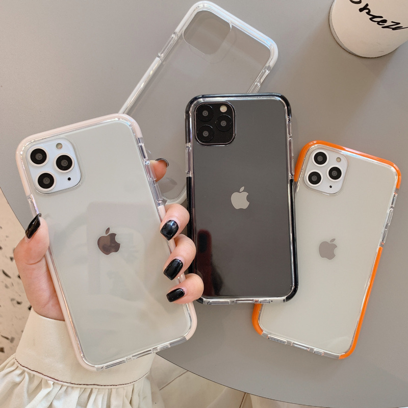 Shockproof Candy color Frame Phone Case For iPhone 11 11Pro Max XR XS X XS Max 7 8 6 6S Plus Soft transparent Back Cover capa