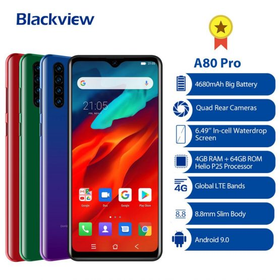 """2020 NEW Blackview A80 Pro Smartphone Octa Core Android 9.0 4680mAh Cellphone 4GB+64GB 6.49"""" Fingerprint ID 4G LTE Mobile Phone"""