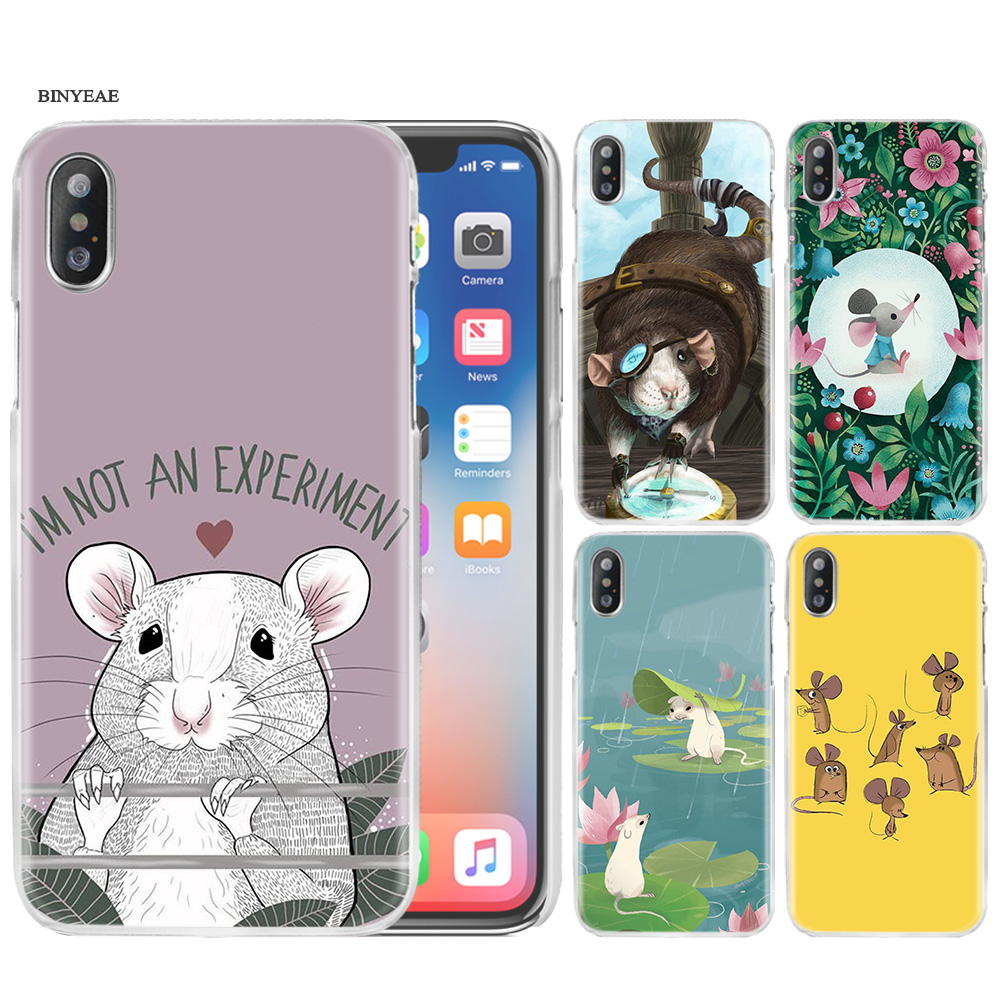Cute Animal Rat Hard PC Case Cover For Apple iPhone 11 11Pro XR XS Max X 7 8 6 6S Plus 5 5S SE 5C 7+ 8+ 6+ 6S+