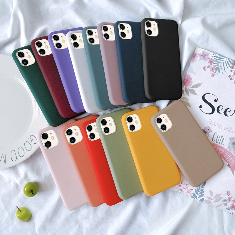 Luxury Phone Case For iPhone 11 Pro 7 6 6s 8 X Plus XR XS Max Simple Solid Color Soft TPU Case Candy Color Back Cover