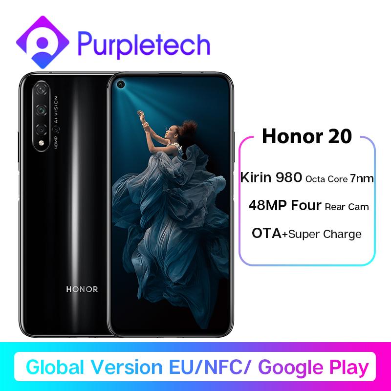 Global Version Honor 20 Smartphone 6G128G Kiri 980 Octa Core 6.26''48MP Four Camera Mobile Phone NFC Google Play SuperCharge