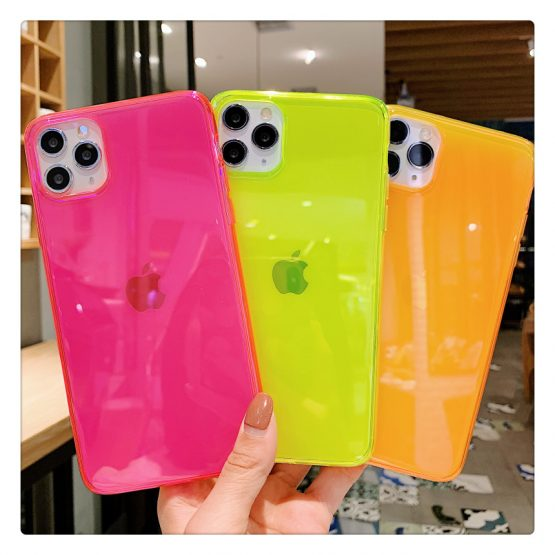 Neon Fluorescent Color Phone Cases For iphone 11 Pro Max XR X XS Max 7 8 7plus 8plus Back Cover Fashion Transparent Soft Cases