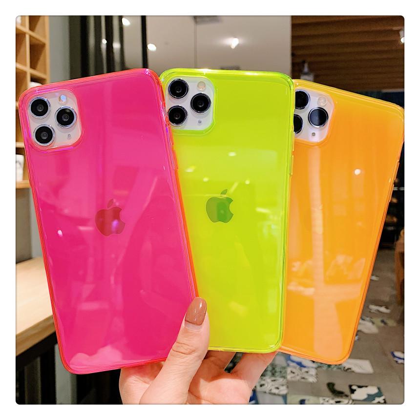 Neon Fluorescent Color Phone Cases For iphone 11 Pro Max XR X XS Max 7 8 7plus 8plus Back Cover Fashion Transparent Soft Cases