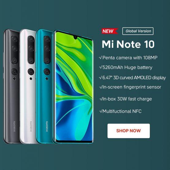 Xiaomi Mi Note 10 SmartPhone 6GB RAM+128GB ROM Penta Camera Global Version Xiaomi Mi Note 10 SmartPhone 6GB RAM+128GB ROM Penta Camera 5260mAh battery Snapdragon730G 10x Screen cellphone.