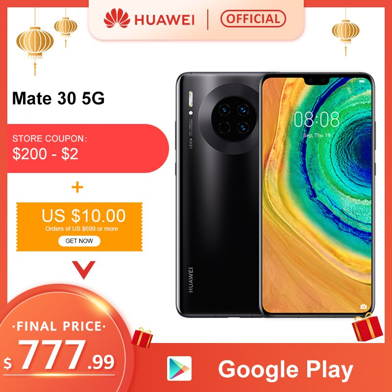Original Huawei Mate 30 5G Version 8GB 128GB 256GB Kirin 990 Smartphone 40MP Triple Cameras 24MP Front Camera 6.62'' Inch